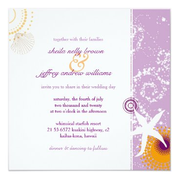 Beach Themed Lilac Orange White Funky Beach Wedding Card