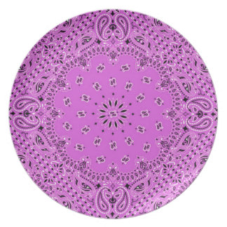Lilac Orchid BBQ Paisley Western Bandana Scarf Dinner Plate