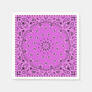 Lilac Orchid Pink Paisley Bandana Scarf BBQ Picnic Paper Napkin