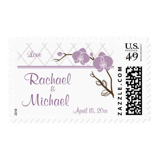 Lilac Orchids Wedding Stamps