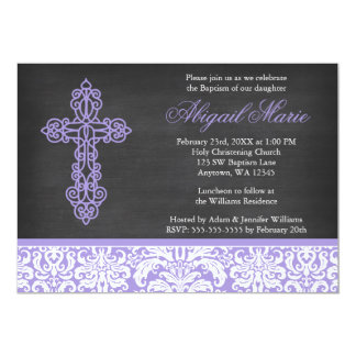 Lilac Ornate Cross Damask Chalkboard Girl Baptism Card