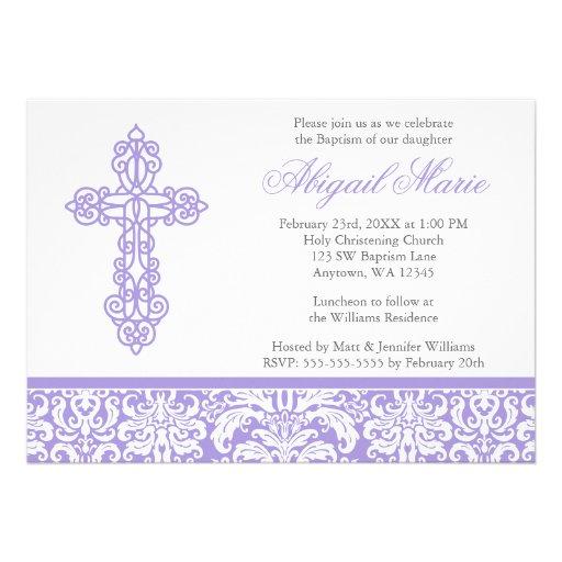 Lilac Ornate Cross Damask Girl Baptism Christening Invites