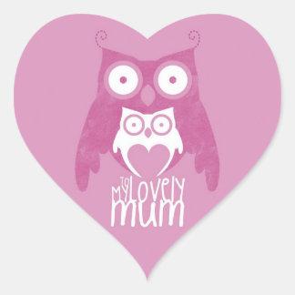 Lilac owl mom heart sticker