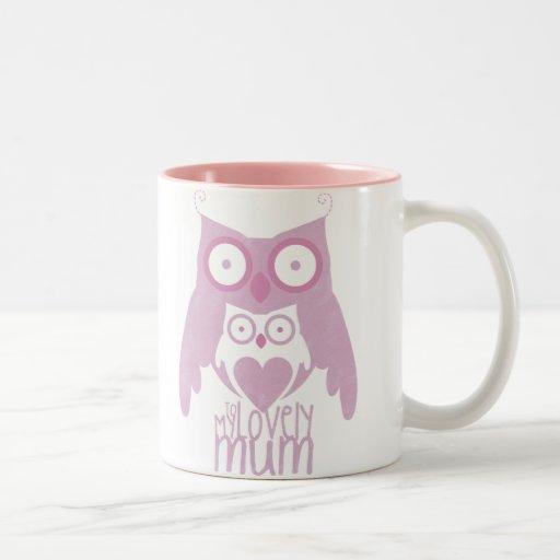 Lilac owl mom coffee mug
