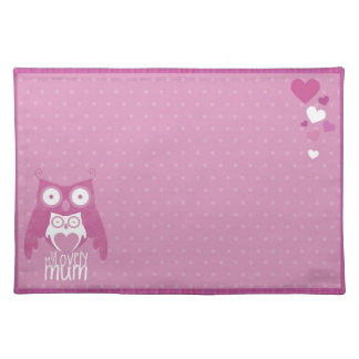 Lilac owl mom placemats