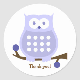 LILAC OWL Round Favor Sticker | Envelope Seal