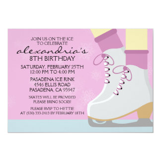 Lilac Pale Skin Skate Laces Ice Skating Party 5x7 Paper Invitation Card
