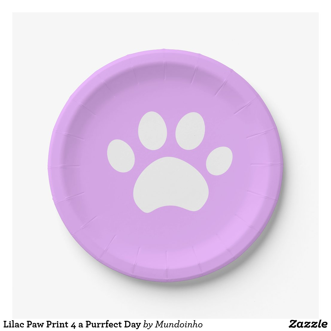 Lilac Paw Print 4 a Purrfect Day Paper Plate
