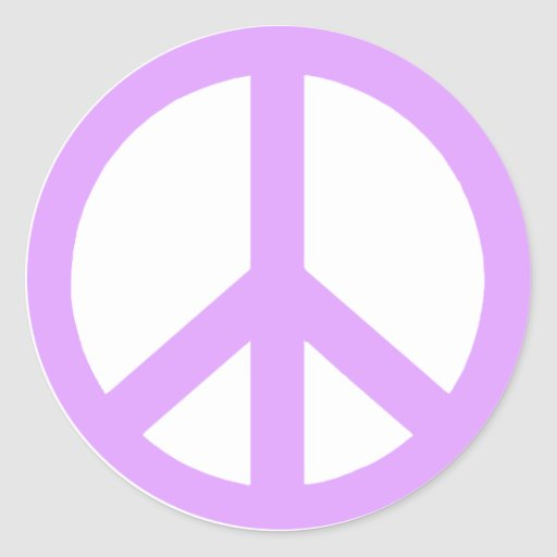 Lilac Peace Sign Stickers