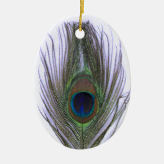 Lilac Peacock Feather Ceramic Ornament