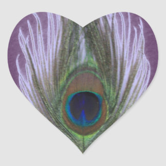 Lilac Peacock Feather D Heart Sticker