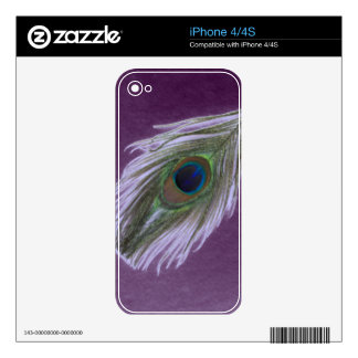 Lilac Peacock Feather D iPhone 4S Decals