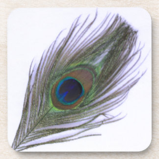 Lilac Peacock Feather Drink Coaster