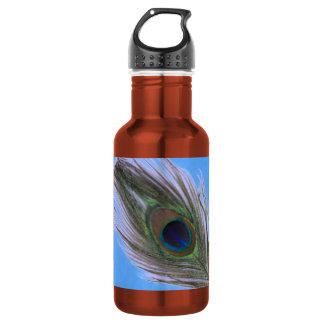 Lilac Peacock Feather on Blue 18oz Water Bottle