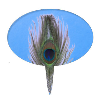 Lilac Peacock Feather on Blue Cake Topper