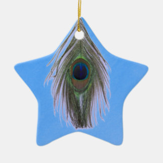 Lilac Peacock Feather on Blue Ceramic Ornament