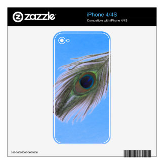 Lilac Peacock Feather on Blue iPhone 4S Decal
