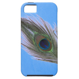 Lilac Peacock Feather on Blue iPhone SE/5/5s Case