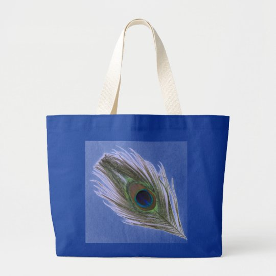 Lilac Peacock Feather on Blue Large Tote Bag