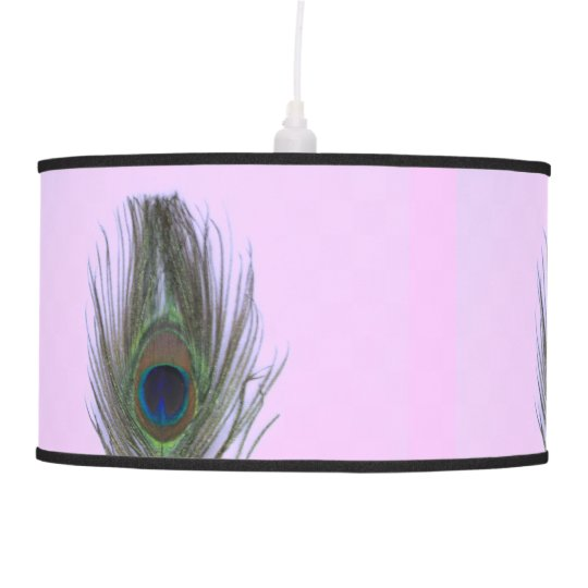 Lilac Peacock Feather on Lilac Ceiling Lamp