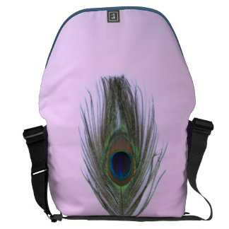 Lilac Peacock Feather on Lilac Messenger Bag