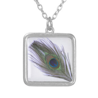 Lilac Peacock Feather Silver Plated Necklace