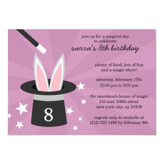 Lilac Peek-a-Boo Rabbit Custom Magic Birthday Part Card