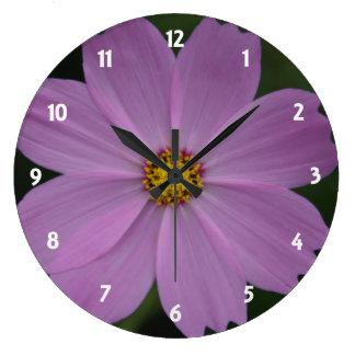 lilac petals round clock