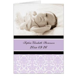 Lilac Photo It's a Girl Photo Birth Announcement