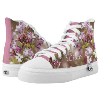 Lilac Picture Purple/Pink Spring Floral Image High-Top Sneakers