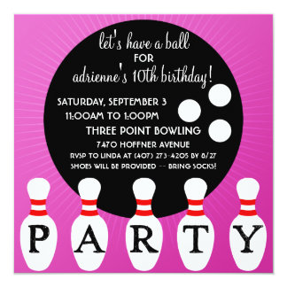 Lilac Pin Party Bowling Birthday Party Card