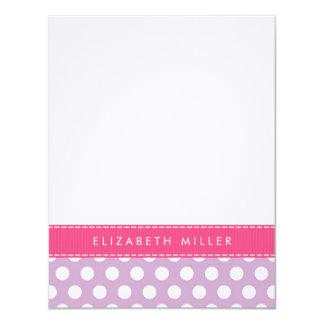 Lilac & Pink Ribbon Polka Dots Monogram Note Card