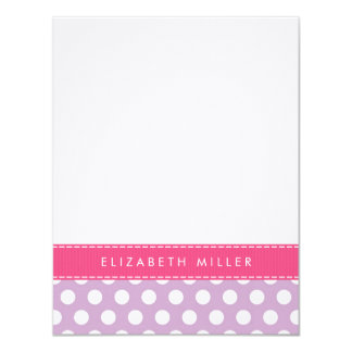 Lilac & Pink Ribbon Polka Dots Monogram Note Card Personalized Invitations