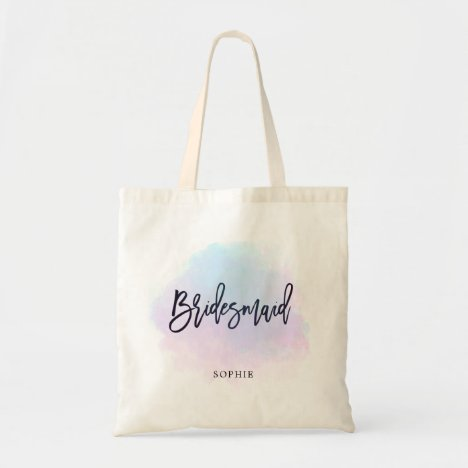 Lilac Pink Watercolor/Bridesmaid Gift/Name Tote Bag
