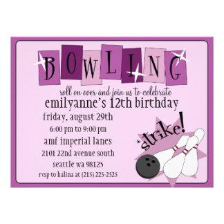 Lilac & Plum Purple Totally Retro Bowling Birthday Invites