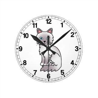 Lilac Point Birman / Ragdoll Cat Round Clock