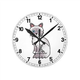 Lilac Point Tabby Birman / Ragdoll Cat Round Clock
