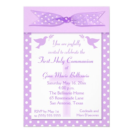 Lilac Polka Dot First Holy Communion Invitation
