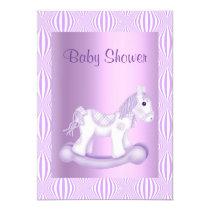 LILAC PRETTY ROCKING HORSE BABY SHOWER INVITATION