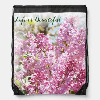 Lilac pull string pack drawstring bag