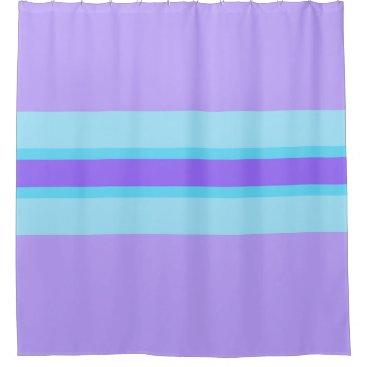 Beach Themed Lilac, Purple and Aqua striped shower curtain