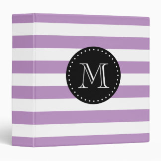 Lilac Purple and Black Stripes Custom Monogram 3 Ring Binder