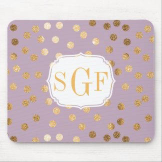 Lilac Purple and Gold Glitter City Dots Mouse Pad