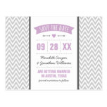 Lilac Purple and Gray Modern Chevron Save the Date Postcards