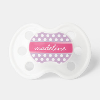 Lilac Purple and Hot Pink Polka Dots Monogram Pacifier