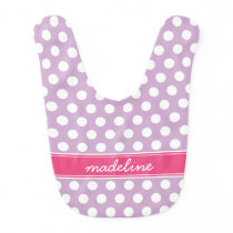Lilac Purple and Pink Polka Dots Monogram Bib