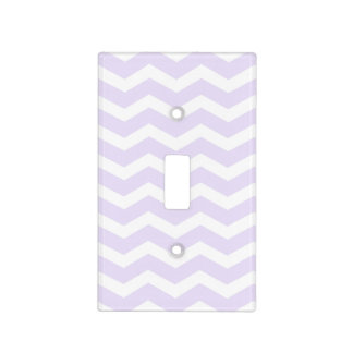 Lilac Purple and White Chevron Switch Plate Cover