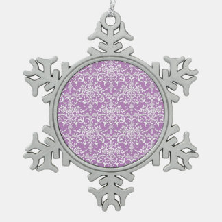Lilac Purple and White Damask Pattern Snowflake Pewter Christmas Ornament