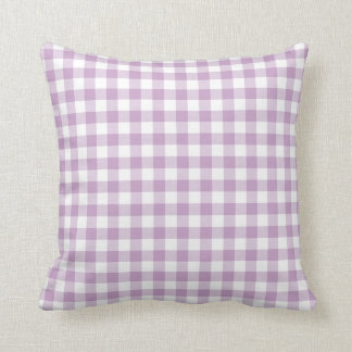 Lilac Purple and White Gingham Pillow