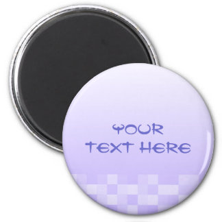 Lilac Purple and White Squares Pattern. 2 Inch Round Magnet